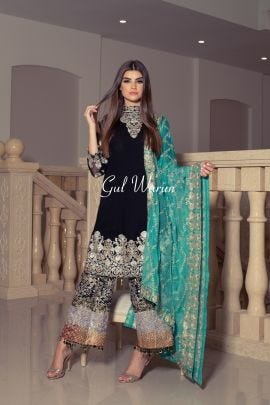 Black Ralli work Luxury Formal Dress by Gulwarun