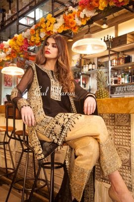 Black Prestige Luxury Chiffon Dress by Gulwarun